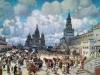 Современный вид Красной площади стал вырисовываться уже в 19 веке, когда построили Исторический музей. Тогда же возвели и верхние торговые павильоны. Сейчас здесь расположен ГУМ. Оба эти строения архитектурно и по стилю сочетаются с кремлевским ансамблем. Начиная с начала 20 века на Красной площади стали проводить все торжественные мероприятия, парады и праздники.