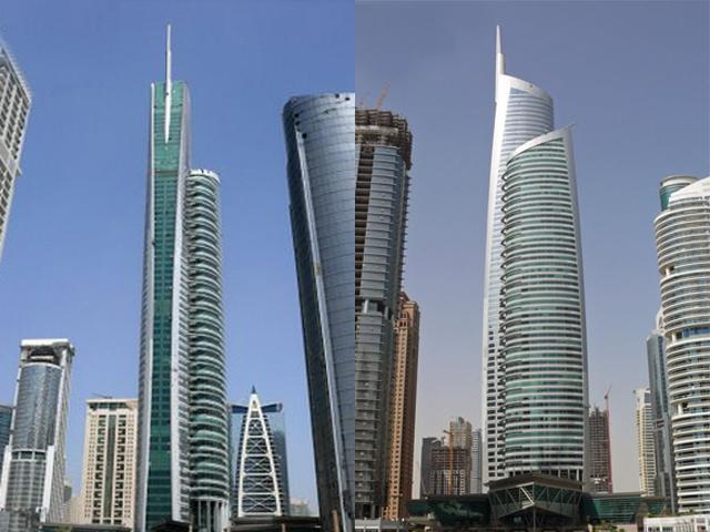 Алмазная Башня удобно расположилась на острове посреди озера Джумейра. Владельцем  сооружения является Дубайский центр товаров.