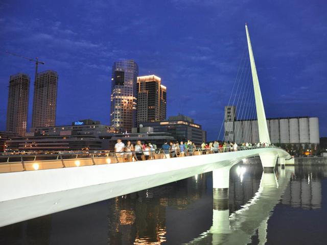 Если говорить об особенностях моста, то главной считается его уникальный и единственный пилон, который имеет наклон более 38 градусов. Благодаря этой части мост кажется еще более воздушным и необыкновенным.