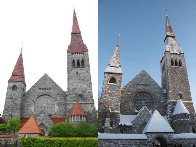 Камни, которые использовались для стен, не были отшлифованы, что улучшило внешний вид собора.