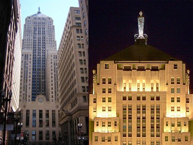 Скульптуры работы Эл. Майера, украшающие фасад здания биржи, уникальны. Особенно это касается статуи древнеримской богини земледелия и плодородия Цереры, венчающей небоскреб.