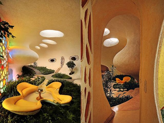 Дом поделен на несколько комнат, но разделение при этом чисто символическое. Здесь совмещены три измерения, которые дают возможность почувствовать и четвертое, которое переходит в спираль.