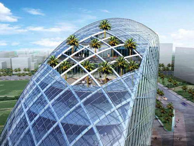 На верхнем уровне Яйца располагается открытый сад, который помогает обеспечить отвод температуры от поверхностей; также здание охлаждается за счёт подземных течений.