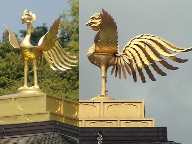 На коньке крыши располагается бронзовый феникс. Золотой храм часто горел, и даже однажды был полностью погребен под грудой пепла, но спустя несколько лет возродился в своем прежнем величии.