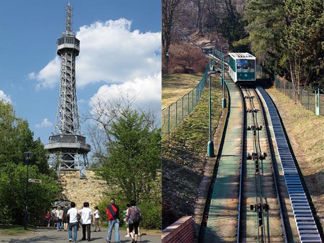 Кроме того, прямо возле павильона находится уникальная башня, настоящая миниатюрная копия знаменитой Эйфелевой, а еще немного дальше Петршинский фуникулер.