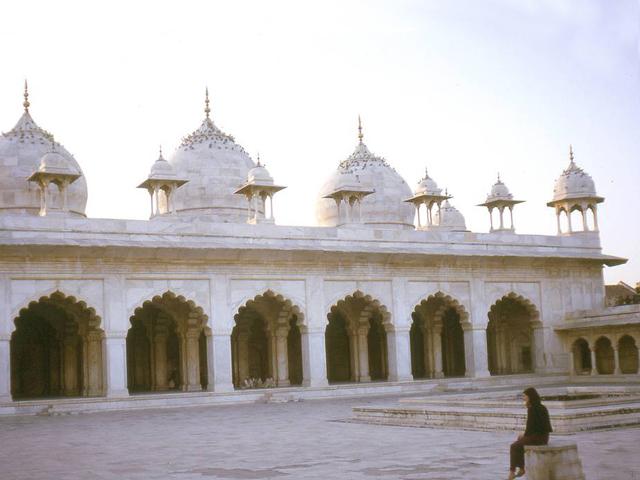 Жемчужный цвет куполам дает тончайший мрамор, которым они со всех сторон выложены. Из такого же мрамора изготовлена и вся мечеть