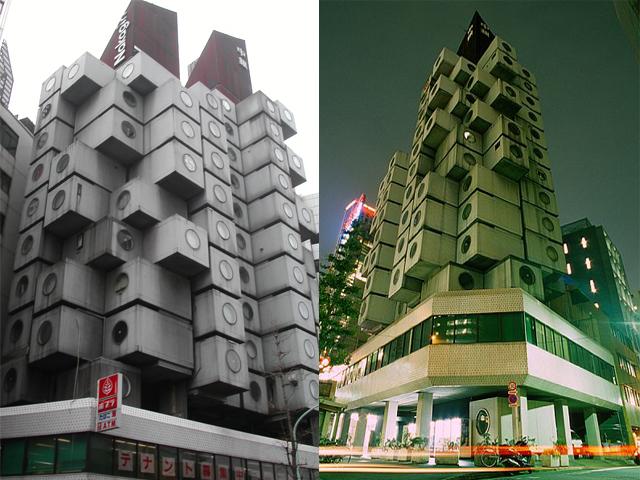 Тринадцать этажей здания выполнены из сборных модулей-капсул размерами 2,3 x 3,8 x 2,1м. Каждая капсула могла бы существовать в автономном режиме, но в собранном виде они создают гораздо больше пространства, экономя место под застройку.