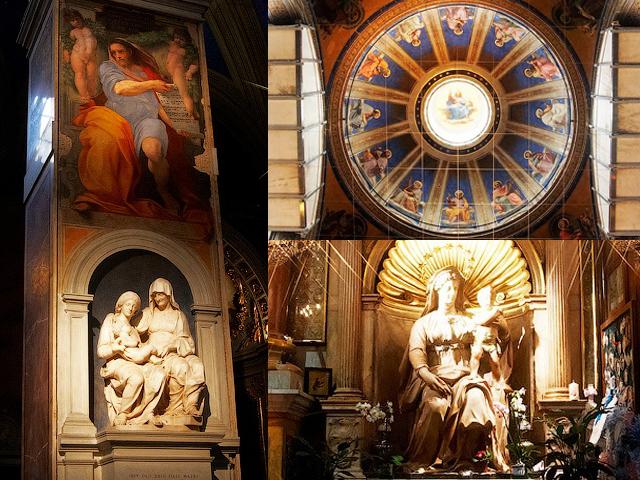 Внутри церковь украшена великолепными фресками с ликами святых работы Рафаэля и Гверчино.