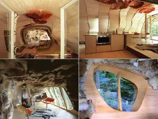 Внутри дома все настолько же необычно: интерьер обшит шведской березой и чем-то похож на дупло дерева. Отметим, что при всей своей уникальности, нереальных интерьерах и визуальных эффектах дом максимально соответствует всем стандартам экологичности.