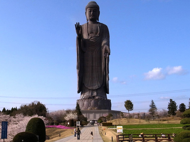 Статуя Будды в Японии действительно впечатляющая. Она возвышается над землей на сто метров, находясь еще на десятиметровом постаменте. Основа имеет необычную форму цветка лотоса, который считается священным для буддистов.