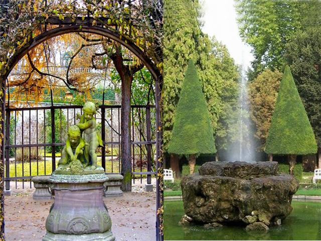 Не менее великолепна и придворная церковь с мраморными полами. Перед дворцом разбит пышный сад со множеством фонтанов и скульптур.