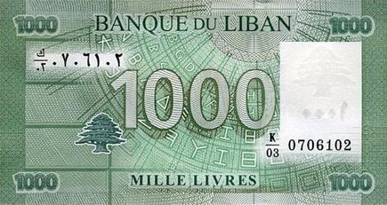 Валюта Республики Ливан - Ливанский фунт (лира)