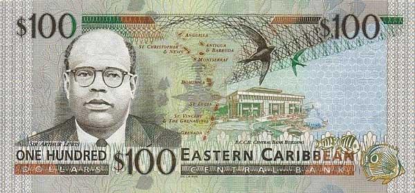 Восточно-карибский доллар имеет хождение в 7 странах, входящих в Организацию Восточно-Карибских государств (OECS). Это - Антигуа и Барбуда, Доминика, Гренада, Монтсеррат, Сент-Китс и Невис, Сент-Люсия, Сент-Винсент и Гренадины и еще на острове Ангилья. Восточно-карибский доллар равен 100 центам. В обращении находятся банкноты номиналом 100, 50, 20, 10 и 5 долларов.