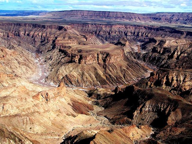 А вот в приморской полосе пустыни растительности нет никакой. Алоэ, вельвичия, акации и молочаи встречаются по долинам водотоков, периодически заполняемых водой. Злаково-кустарниковая пустыня сменяет суккулентную по мере продвижения на восток.